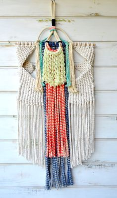 Ranran design wallhanging using ecofriendly cotton rope hand dyed with moroccan dyes. Available online
