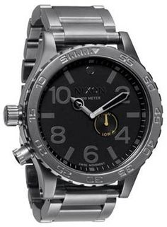 http://newtimepieces.com/nixon-51-30-watch-mens-all-gunmetalblack-one-size/ Nixon included a tide subdial in the 51-30 Watch, so you'll know when to paddle out at your favorite surf spot. With super oversized stainless steel case, this watch will survive the gnarliest wipeout you'll ever take, because unlike you, it'll keep ticking up to 300m underwater. A sleek, brushed finish on this Nixon watch's stainless steel band gives it go-anywhere versa...