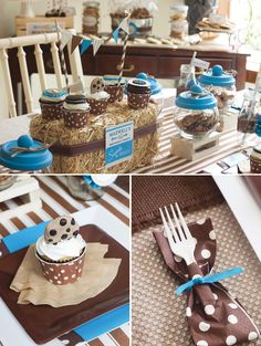 idee decoration de table a pois mariage fete anniversaire paille foin ferme grange