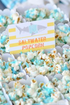 Salt water popcorn at a Jawesome shark themed birthday party by Kara Allen Karas Party Ideas Cute for Shark Week 70 Moana Birthday Party, 6th Birthday Parties, Luau Party, Shark Birthday Ideas, 2nd Birthday, Birthday Celebration, Sea Party Food, Water Birthday, Sixteenth Birthday