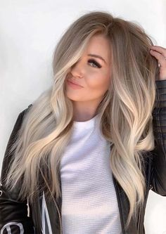 Find here gorgeous blends and shades of balayage hair colors to wear in year 2019. Balayage has become most famous and popular hair color among ladies nowadays just because of its charming look. Hair Color Blondes, Blonde Hair On Brunettes, Shades Of Blonde Hair, Highlights In Blonde Hair, Blonde Hair Colors, Blonde Hair With Dark Roots, Brown Eyes Blonde Hair, Different Shades Of Blonde, Ashy Hair