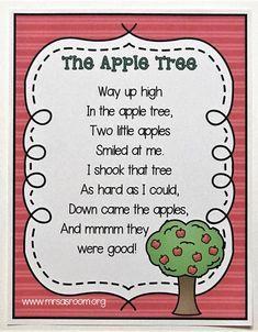 Ten Little Apples | Using Poetry in Preschool | Mrs. A's Room