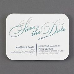 Ombre Luster in White Save the Date Card