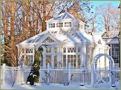 Square conservatory in winter
