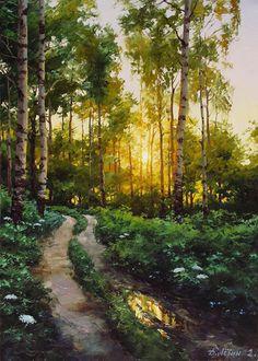 Ideas For Landscape Trees Painting Inspiration Beautiful Landscape Paintings, Landscape Drawings, Cool Landscapes, Nature Paintings, Landscape Pictures, Indian Paintings, Fantasy Landscape, Landscape Art, Landscape Photography