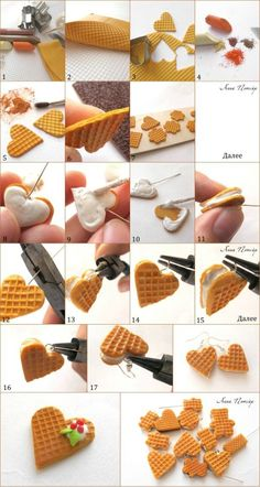 Waffle Hearts Tutorial for Fimo or Polymer Clay. Get FIMO here… Polymer Clay Kunst, Cute Polymer Clay, Cute Clay, Polymer Clay Miniatures, Fimo Clay, Polymer Clay Projects, Polymer Clay Charms, Polymer Clay Creations, Polymer Clay Jewelry
