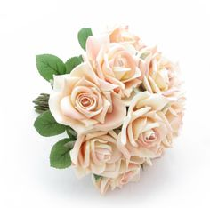 Classic roses in blush make a sweet posy. Find your perfect wedding flowers at www.loveflowers.com.au