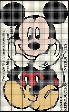 Grille gratuite point de croix : Mickey Mouse assis 2