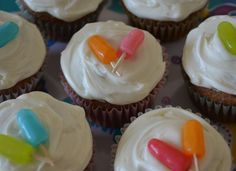 Popsicle cupcakes....Mike & Ikes and a toothpick!  Can't get much easier than that!