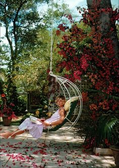 Vintage courtyard hanging chair Barbados Bliss by Slim Aarons, 1976 Slim Aarons, Barbados, Outdoor Spaces, Outdoor Living, Outdoor Decor, Lakeside Living, Dream Garden, Home And Garden, Bliss