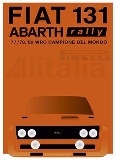 1977, 78, 80 FIAT 131 Abarth Rally : Original Poster Graphic