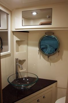 Head w shower Small yacht bathroom design