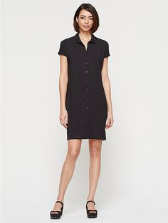 Classic Collar Short-Sleeve Dress in Viscose Jersey
