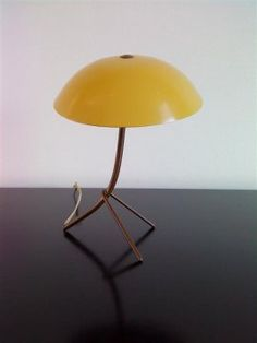 Angelo Lelli; Brass and Painted Metal Table Lamp for Arredoluce, 1950s.