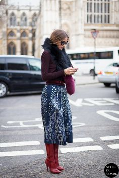 olivia palermo - color combination and boots.