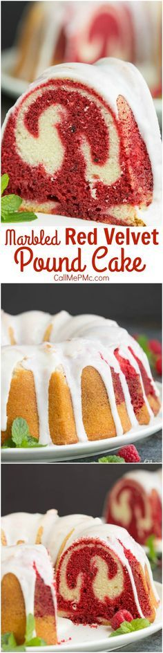 Vanilla Red Velvet Marbled Pound Cake Recipe is the best of two desserts in one! It's rich, dense, buttery, and decadent.