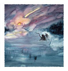 Sunset Heron - Roderick MacIver Arts