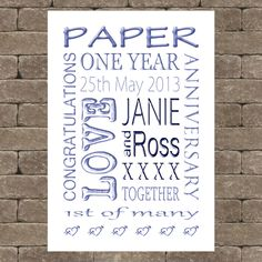Personalised Paper Wedding Anniversary gift idea word art UNFRAMED A4 print su