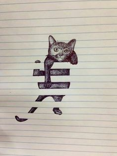 Cat hanging on paper lines drawing