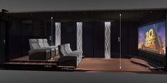 Cette salle de cinéma privée de 32 m2 à Valence réalisée par VOTRE CINEMA comporte 6 fauteuils de cinéma en cuir noir et des panneaux acoustiques noirs. Sur les murs acoustiques de la salle de cinéma privée se trouvent des panneaux en aluminium brossé gris, mis en valeur par des formes de vagues rétro-éclairées.