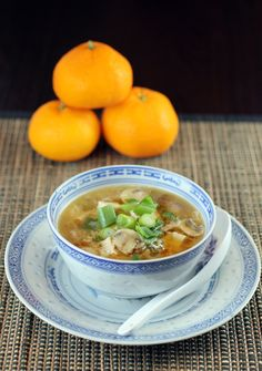 A different version of hot and sour soup : combines with elements of egg drop soup