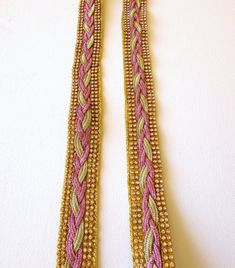 235467222863 Items similar to 1 yd Pink and gold braided ribbon 30 mm