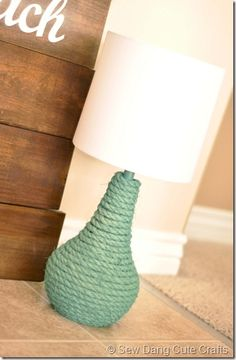 DIY Rope Lamp Idea--for Liam when we change room decor Rope Crafts, Beach Crafts, Kids Crafts, Coastal Decor, Diy Home Decor, Rope Lamp, Deco Marine, Lamp Makeover, Lamp Redo