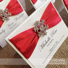 the cinderella collection luxury place card featuring red satin ribbon white glitter paper handmade wedding invitationswedding