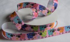 """Sheep Ribbon 5 yards of 7/8"""" Pink Grosgrain Ribbon with Multi Colored Sheep and Flowers For Hair Bows Party Favor Ties Crafts Scrap Book by HouseofHairDecor on Etsy"""