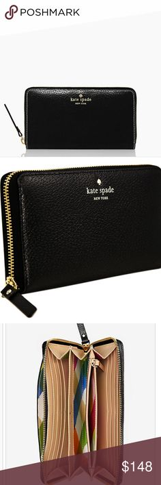 NWT Kate Spade black leather Neda Wallet Brand new with tags, retail $198. Black leather with gold detailing, full details in last pic. kate spade Bags Wallets