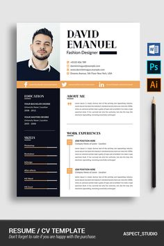 Hi there, this is a Perfect Resume Template for you! This template is Super Easy to Edit, so you can quickly tailor-make your resume for any opportunity and Modern Resume Template, Resume Design Template, Cv Template, Resume Templates, Portfolio Web, Portfolio Resume, Cv Photoshop, David Emanuel, Curriculum Template