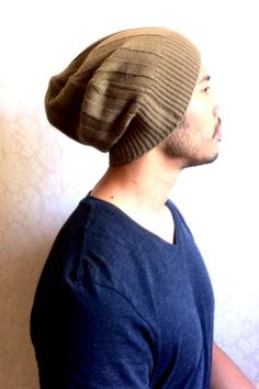 Slouch Mens Beanie Hat, Men Clothes ,unisex-Christmas gift - Tan Brown Knit-  up cycled ecofriendly, guy gift