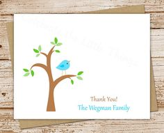 bird tree baby boy thank you cards  set of 8 by CelebrateLilThings