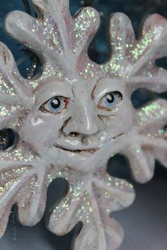 Old Man Winter Paper Clay Snowflake by bzlittlechristmaself