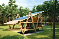 This unusually shaped house is meant to become one with nature, both from a shape and function point of view. Designed by Russian architect AN RO, this A Frame House, Tiny House Design, Little Houses, Architecture Details, Backyard Landscaping, My House, House Plans, Construction, Outdoor
