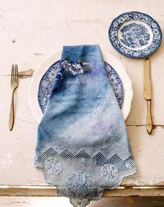 Indigo blue menu napkin...ADD diy ♥❤ www.customweddingprintables.com #customweddingprintables
