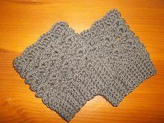 Women's Boot Cuffs Cotton Taupe/Dark Brown Handmade Christmas
