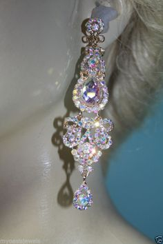 Rhinestone Chandelier Earrings Bridal Prom Pageant 4 inch Long AB ...