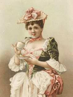 Tea:  A Victorian lady enjoying a spot of tea.