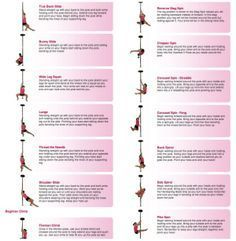 Pole Dancing Exercise : Beginner, Intermediate and advanced Moves (Spins, Poses, Floor-work, Slides and Climb). Pole dancing is a great form of exercise and can be used as both an aerobic and anaerobic workout. Self-taught pole dancing techniques Pole Fitness Moves, Pole Dance Moves, Pole Dancing Fitness, Dance Gear, Fitness Exercises, Barre Fitness, Workouts, Fitness Routines, Pole Dancing For Beginners