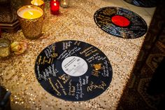 Record Guestbook- Wedding Guestbook idea: If you are a music lover, have your wedding guests sign your favorite record albums instead of a regular guestbook. After the wedding, frame the records and hang it on a wall in your home!