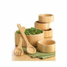"""The Cellar Natural Wood 7-Piece Salad Serving Bowl Set by Cellar. $48.00. Set includes one 10"""""""" large serving bowl, four 6"""""""" bowls, and two 12"""""""" salad servers.. Color: Natural Wood. """"From basic green salads to extravagant panzanellas, this set is a charming way to serve it up. Simple, modern shapes in light blonde wood are crafted with retro flair. Set includes one 10"""""""" large serving bowl, four 6"""""""" bowls, and two 12"""""""" salad servers.  """""""