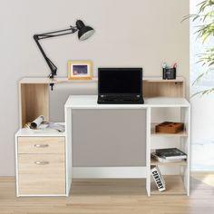 Preciosa mesa de escritorio para tu ordenador. Diseño moderno y elegante que quedará perfecta en tu hogar. Con esta mesa de oficina puedes trabajar y estudiar. Tiene 3 estantes para guardar libros, revistas o lo que desees. También 2 cajones para organizar tus documentos y objetos. Medidas: 140x55x92cm (LxAnxAl). Puedes comprarla online en https://www.aosom.es/hogar/homcom-mesas-ordenador-madera-blanco-roble-140x55x92cm.html con envíos gratis a España y Portugal en 24h/48h.