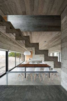 The stairs in this home are made from concrete.