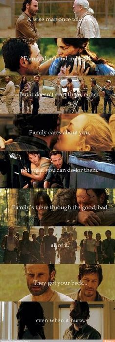 """""""Family don't end in blood, but it doesn't start there either."""" #walkingdead"""