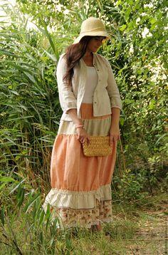 """Купить Юбка льняная """"Персиковая нежность"""" - бежевый, цветочный, юбка длинная…"""
