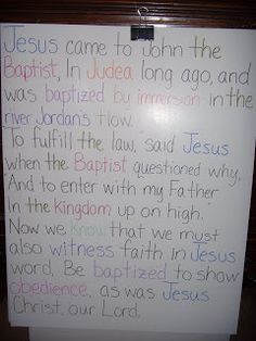 Primary Singing Time: Baptism - cute idea! colored words and kids are assigned to stand up on their word