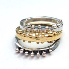 Silver, Vermeil and Oxidized Silver stack rings, available as individuals or in sets of 3 or 5.