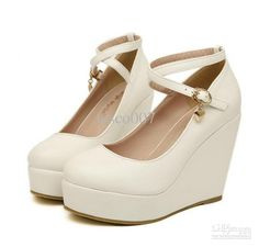 Buy White wedges shoes pumps high heels shoes for women wedges platform shoes heel white pumps wedges heels at Wish - Shopping Made Fun White Wedge Shoes, Black High Heels, High Heel Pumps, White Wedges, Platform Pumps, Wedge Heels, White Pumps, Prom Shoes, Buy Shoes