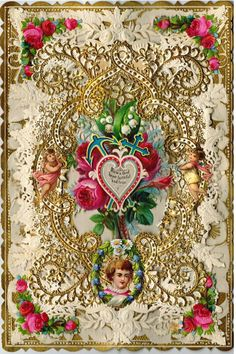 """Early 20th century valentine - """"From a fond heart faithful and true""""  This originally was a pop-up valentine with an impressive 3-D appearance."""